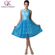 Grace Karin longitud de la rodilla sin mangas de encaje azul vestido de graduación corto 2015 CL6158