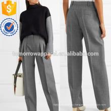 Плиссированные шерсти саржа прямые брюки Производство Оптовая продажа женской одежды (TA3048P)