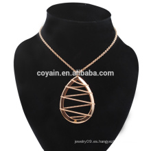 Acero inoxidable de oro rosa Golddrop pendientes y collar conjunto de joyas