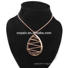 Acier inoxydable Rose Gold Waterdrop Boucles d'oreilles et collier Ensemble bijoux