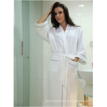 Cotton Waffle Fabric Bathrobe Hotel Bathrobe Dressing Gowns for Women Long Hotel Bath Robe Pajamas (WSB-2016029)