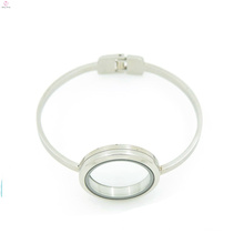 Fancy stainless steel open bracelet, 316l silver glass memory floating locket bracelet bangle