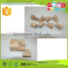 Herramientas de enseñanza de madera juguetes educativos bloque 8pcs bloque natural cubo
