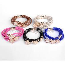 Fashion flower engraved leather bracelets