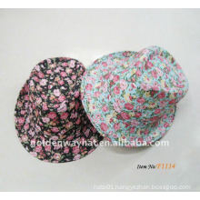 lady fashion cheap floral fedora hat