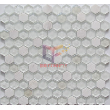 Marble with Super White Glass Crystal Mosaic Tile (CS253)