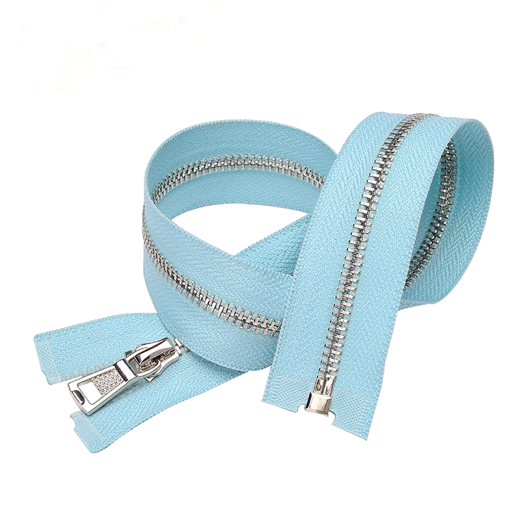 Sky Blue Tape Separating Style Metal Coat Zipper