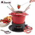 Stylish Red Cast Iron Enamel Cheese Fondue Set For All Styles
