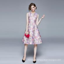 European Spring Summer 2020 New Women's Hot Selling High-Waist Big Swing Lady Jacquard Round Neck Sleeveless Dress