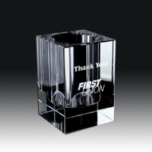 Crystal Pen Holder for Office Supplies and Business Gift