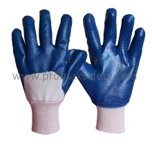 Jersey Cotton Liner Blue Nitrile Dipped Glove with Knit Wrist