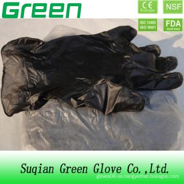Guante de plástico desechable negro del vinilo del PVC