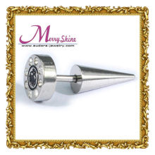 Cute Shiny Sliver Cone Ear Pin Body Piercing Jewelry Of Stainless Steel With Crystal
