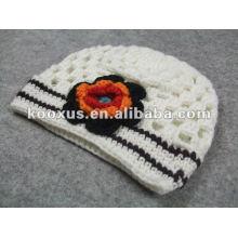 Sombreros de los babys sombrero del ganchillo del búho con los sombreros del ganchillo del bebé de la flor gorrita tejida infantil del bebé de la gorrita tejida