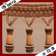 simple design wooden and tassel fringe for Curtain decoration and lamp decoration