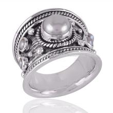 Großhandelsneue Art- und Weiseschöner Perlen-Edelstein 925 Oxidierte silberne Ring-Schmucksachen