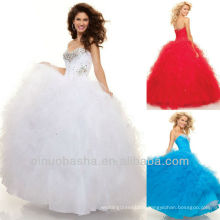 Red and WHITE Sweetheart Ball Gown Sequin Sweep Train Bustle Skirt Quiceanera Dress Pageant Gown Sweet 16