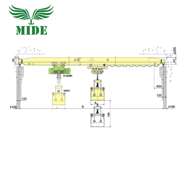 LZ type grab bucket single girder overhead crane