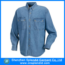 Design Personality Fashion Long Sleeve Denim Shirt for Men