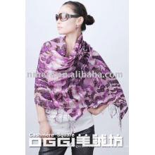 Moda de senhora impresso lenço de lã