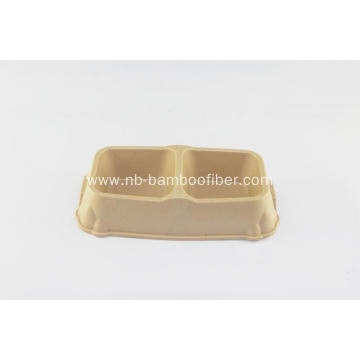 Bamboo fiber double feeder bowl