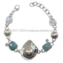 Piedra preciosa antigua de la piedra de Moonstone del arco iris de Aquamarine y de la perla de la ampolla con la pulsera de la plata esterlina