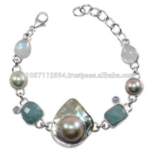 Antique Aquamarine Rainbow Moonstone & Blister Pearl Gemstone avec pendentif en argent sterling Jewelry