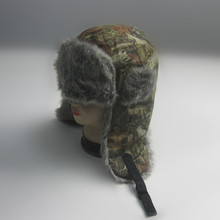 Camouflage Print Fur Russia Hat