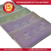 Patch de colorido brilhante reflexivo em alto-relevo couro