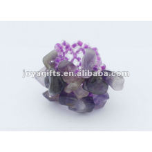 Amethyst Chip Stone Stretch Seed Perles de verre Ring