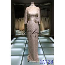 Elegante muçulmano Marrom manga comprida Maxi vestido mulheres com cinto