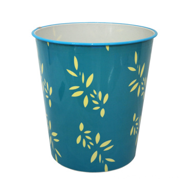 Round Blue Plastic Leaf Design Open Top Dustbin (B06-2020-3)