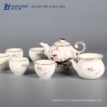 Branco elegância dourado borda louça chá jogo porcelana porcelana china louça