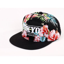 Allover Red Flower Printing Snapback Baseball Cap with 3D Embroidery