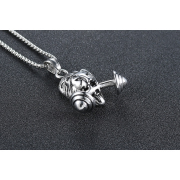 Fitlife Lion Barbell Pendant Sports Mens Necklace