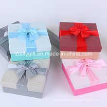 Quality Textured Art Paper Square Gift Boxes with Ribbon Bow