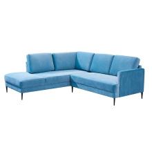 Sky Blue Velvet Upholstered Sectional Corner Couch Living Room Furniture 7 Seater Sofa Set Designs
