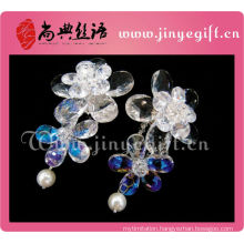 Newest Ladies Accessories Clean Crystal Flower Big Elegant Bridal Earrings