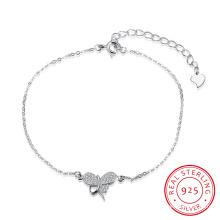 Romántico 925 pulsera de acero de ley con forma de mariposa joyería colgante inserción de zircón