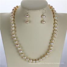 Snh blanco natural perla de agua dulce conjunto al por mayor