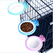 Gaiola do alimentador da gaiola para o animal de estimação pequeno, prato da bacia do alimentador da água do alimento com o suporte do parafuso para o pássaro do gato do cão de animal de estimação