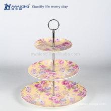 Три слоя Желтая картина рисования цветов Королевские дневные тарелки, Чайный набор Фарфор