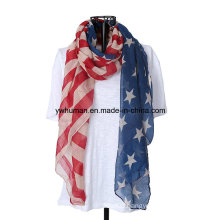 Women White and Blue American Flag Long Scarf