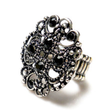 Cheap fashion hollow out metal stretch rhinestone ring hot sale women party ring
