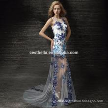 Blaue ärmellose edle sexy Brautkleider Abendkleid Partykleid Club Show tragen