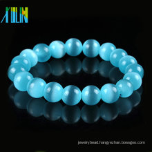 charm lake blue round cat eye glass beads bracelet