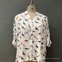 Camisa de mujer de algodón moda pájaros