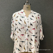 Women's cotton fashion birds shirt
