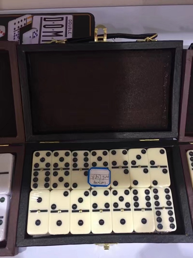 Mahjong Dominoes Set In Leather Box