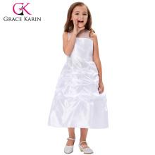 Grace Karin Ver a través de hilos alrededor de cuello sin mangas blanco largo vestido de fiesta de la novia vestido CL4492
